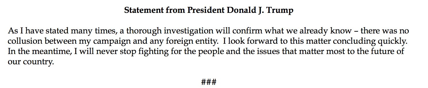 NEW! Statement from President Donald J. Trump https://t.co/DTEy8ILKGF