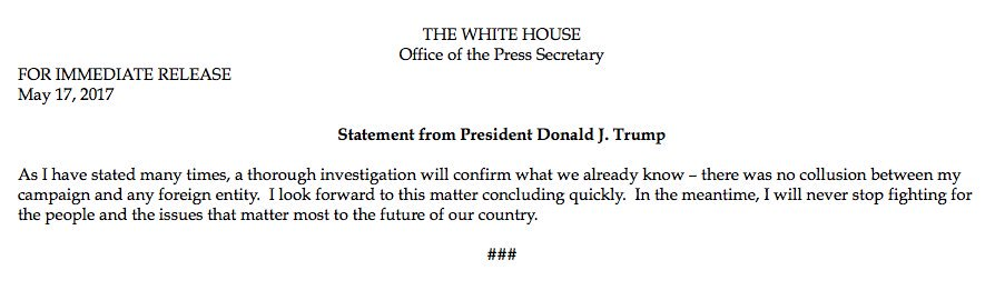 President trump releases a statement on the appointment of robert ...