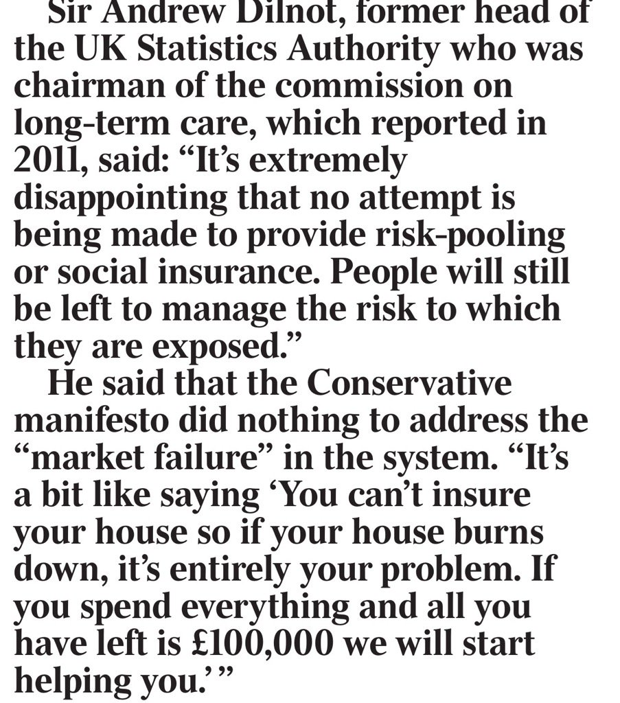 Exc: Sir Andrew Dilnot, author of landmark gvt social care report, denounces Theresa May social care plan https://t.co/MSyvASFvWS