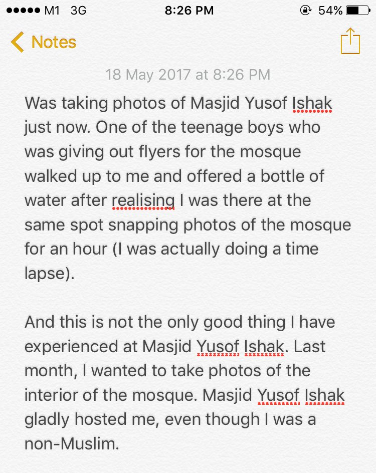 A little gesture like this made my day! Thank you, Masjid Yusof Ishak. https://t.co/cy6d4xszpw