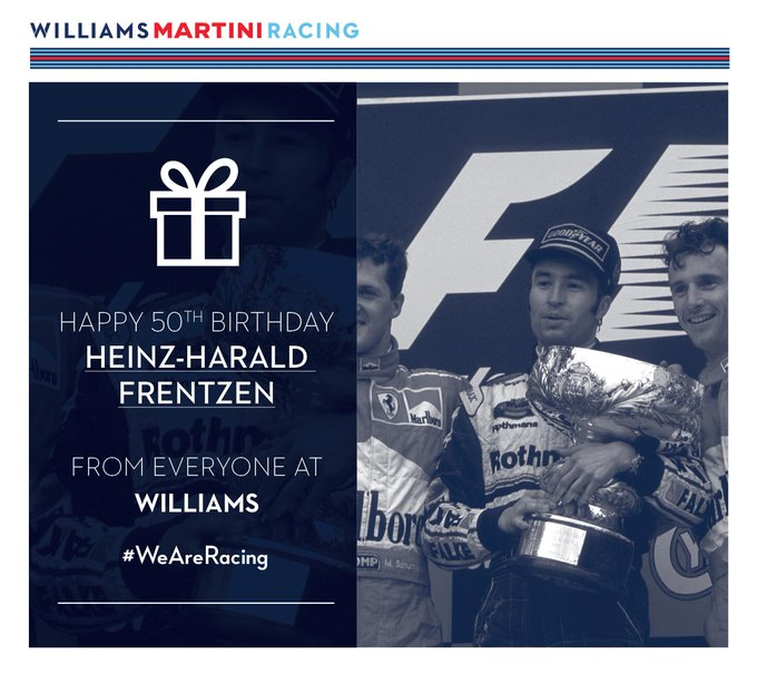 Everyone at Williams would like to wish Heinz-Harald Frentzen a very Happy Birthday!