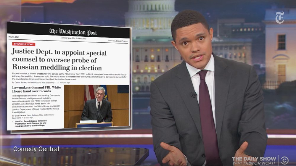"""""""This happens literally every day now,"""" Trevor Noah says of the scandals at the White House https://t.co/r9dd7UYGX9 https://t.co/o1zNBhatHK"""