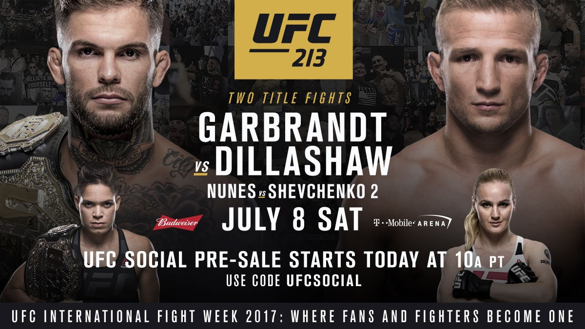 ��PRE-SALE STARTS NOW��  Use code 'UFCSOCIAL' to get early access to #UFC213 �� NOW ➡️ https://t.co/LVPFwK55v0 https://t.co/tloOqZglUY