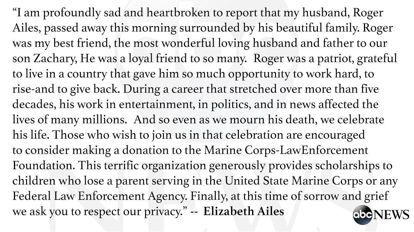 'Roger was a patriot.'   Statement from Elizabeth Ailes, wife of Roger Ailes: https://t.co/WGOoZnRgoQ https://t.co/roePvt3vdF