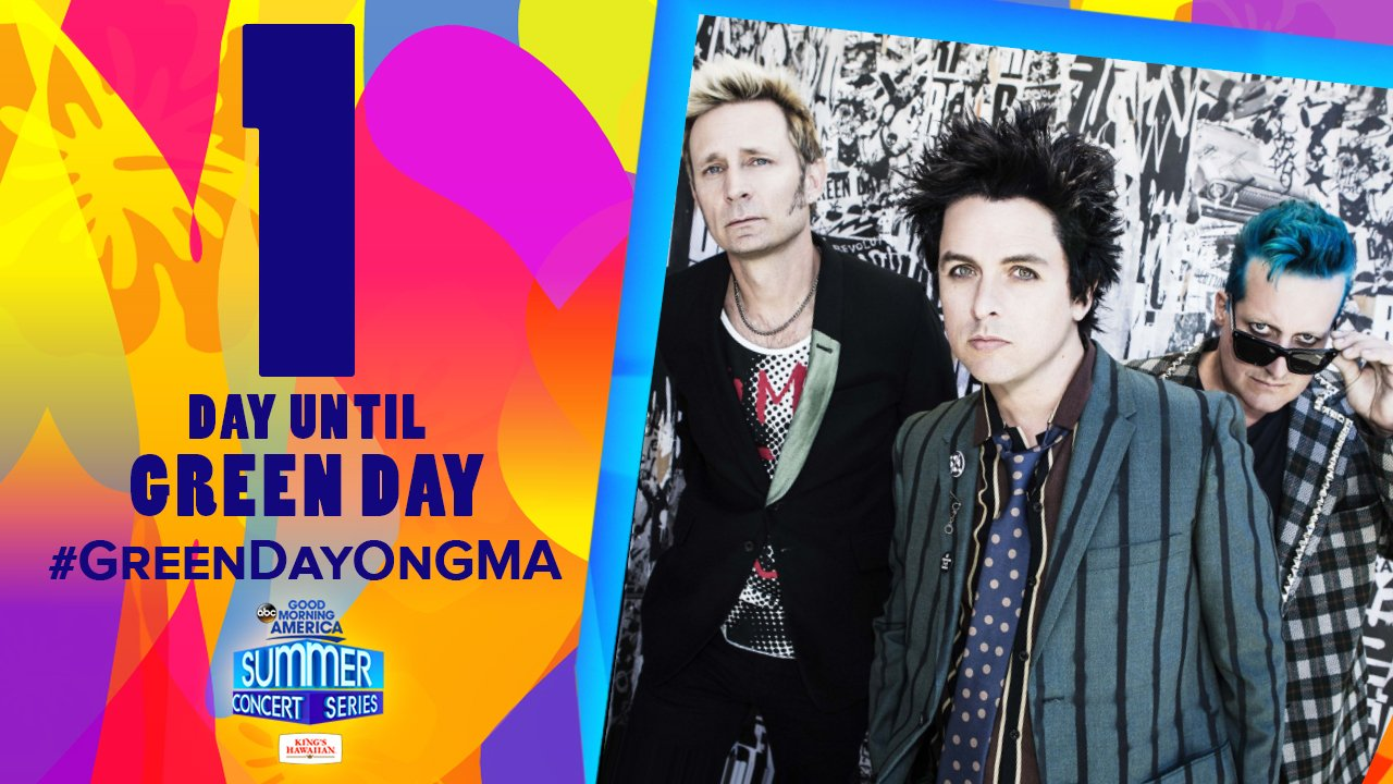 TOMORROW @GreenDay opens the @GMA Summer Concert Series! #GreenDayOnGMA   Tickets here: https://t.co/Uku7a7fzbA https://t.co/Aucmmdx3nu