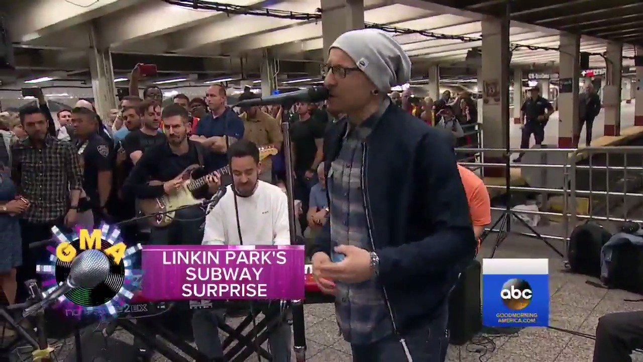 WATCH: @linkinpark pops up under NYC's Grand Central Station for a surprise concert! https://t.co/O6FOZ9Uino https://t.co/qJ6n8QO7VQ