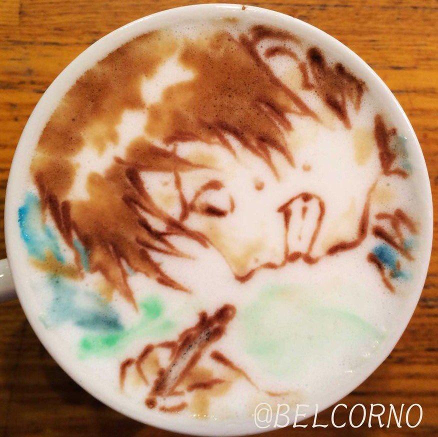 ラテアート【健二(サマーウォーズ)と瀧くん(君の名は。)】本日、神木隆之介さんがお誕生日。Happy Birthday!