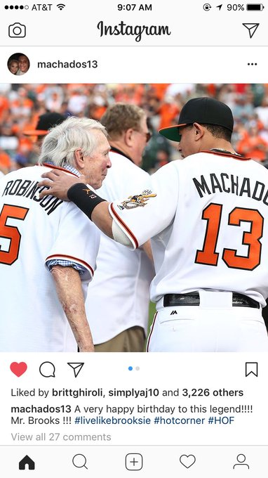 A Hall of Famer and a future Hall of Famer. Happy Birthday Brooks Robinson!!