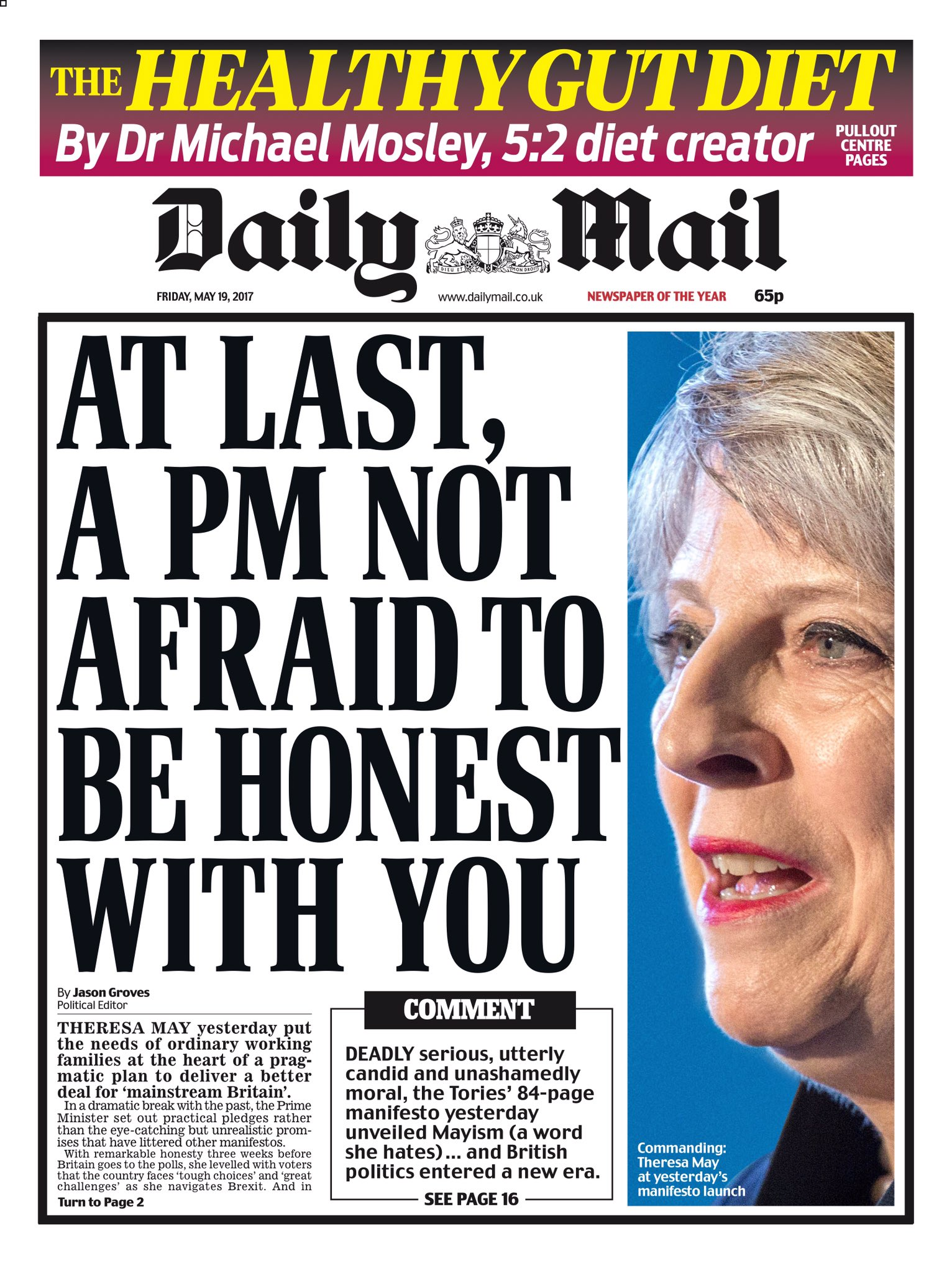 FRIDAY'S DAILY MAIL: 'At last, a PM not afraid to be honest with you' #tomorrowspaperstoday #bbcpapers  https://t.co/g5eS3QUKDB