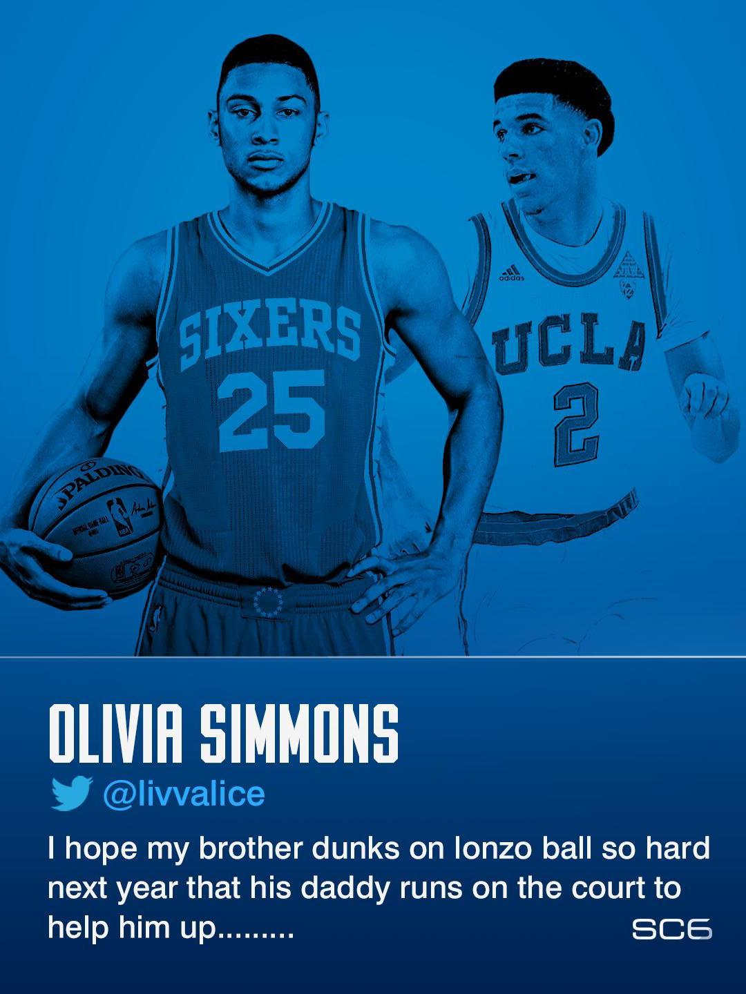 Ben Simmons' sister has no filter when it comes to Lonzo Ball. (via @livvalice) https://t.co/2z2W0CvvDb