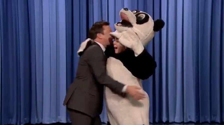 Watch Miley Cyrus dressed as a panda interrupt Jimmy Fallon's monologue on #FallonTonight https://t.co/2kVYzpWj9n https://t.co/3sSQtfQPnc
