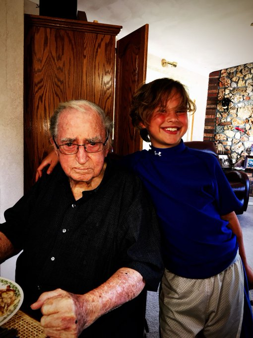 Just 2 Birthday boys enjoying life and livin\ the dream! Happy 94th Birthday Grandpa!!!