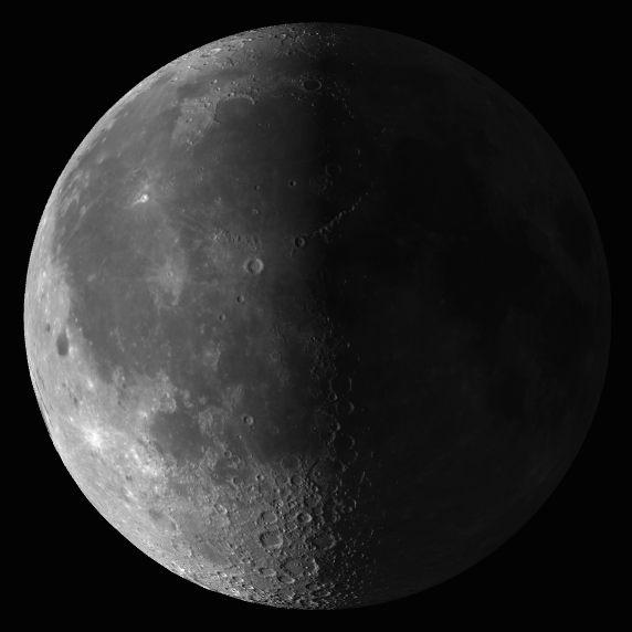 La luna alcanzó la fase cuarto menguante a las 00:34 utc ...