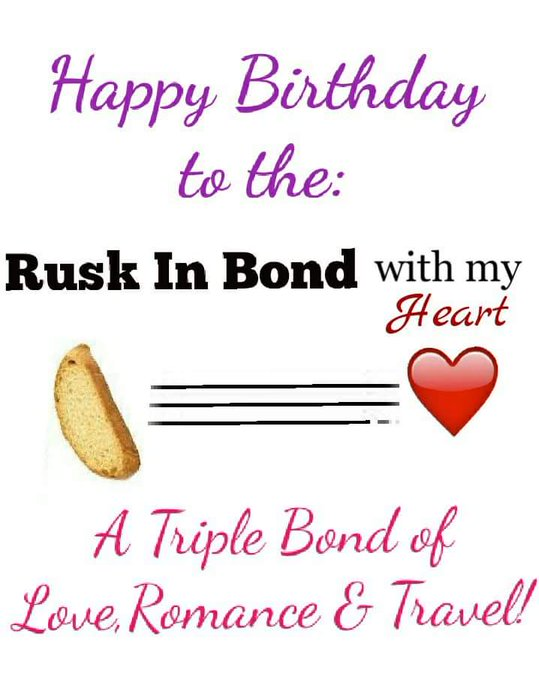 Happy Birthday Ruskin Bond,my bond with you will be for life!! Love!!