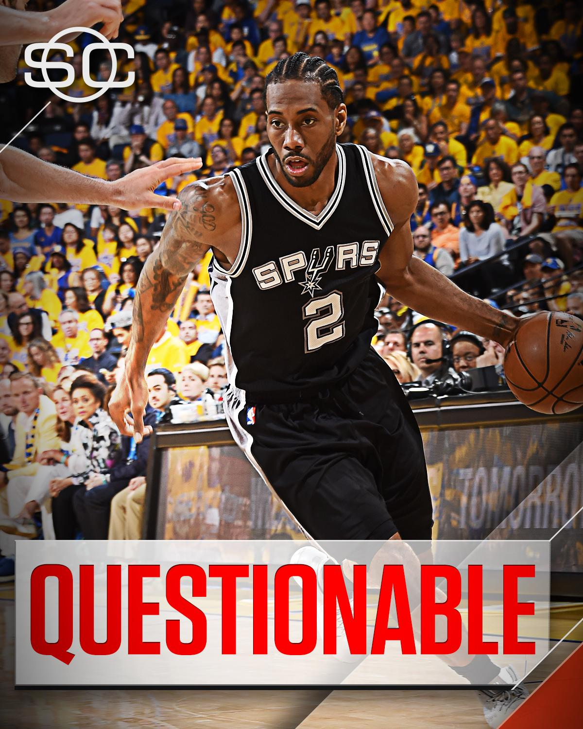 This Just In: Spurs announce Kawhi Leonard is questionable for Game 3 against the Warriors. https://t.co/7tzuNsU78F