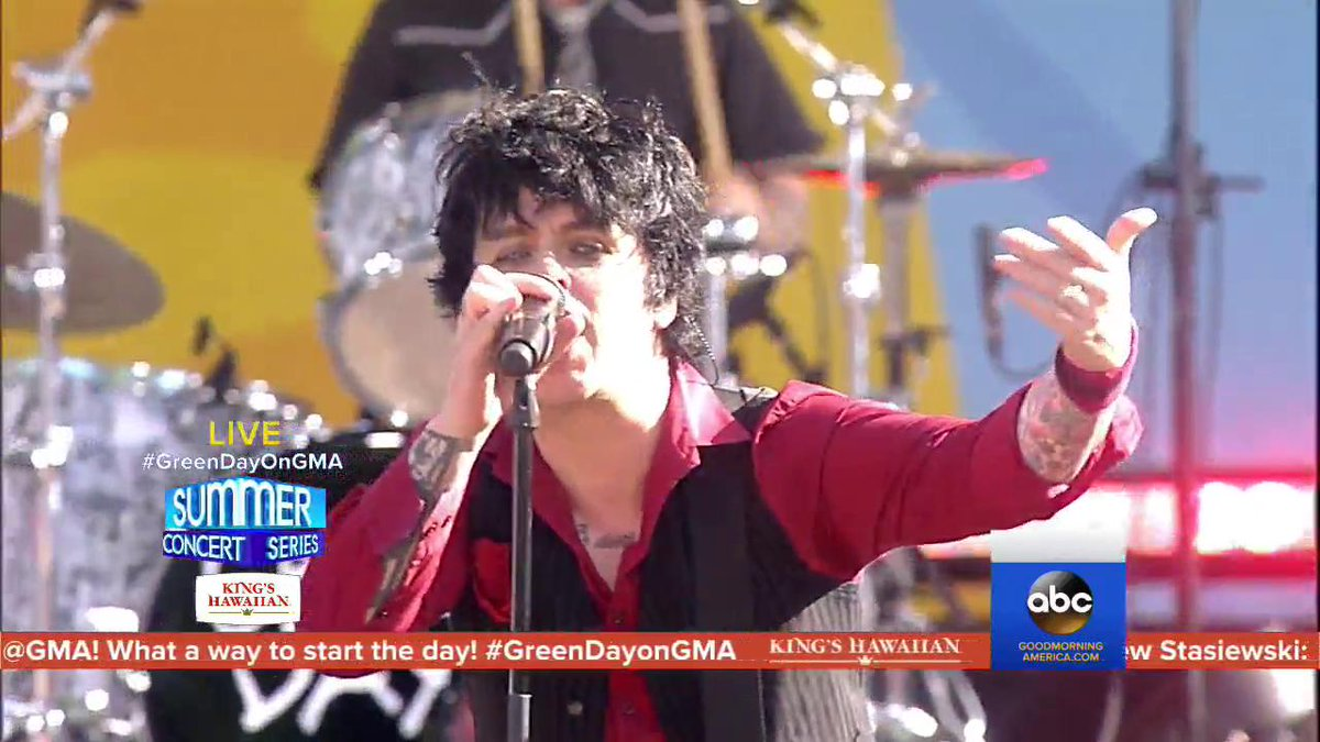 "WATCH @GreenDay performs ""Know Your Enemy"" LIVE on @GMA. #GreenDayOnGMA"