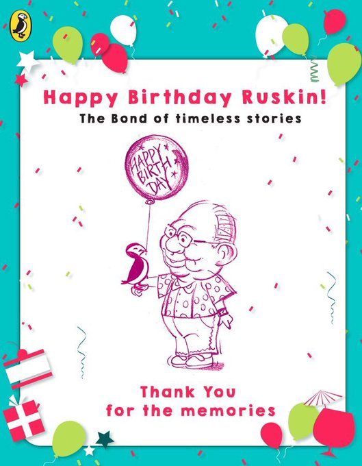 Happy Birthday Ruskin Bond .You made India Great with your Incredible Writing.