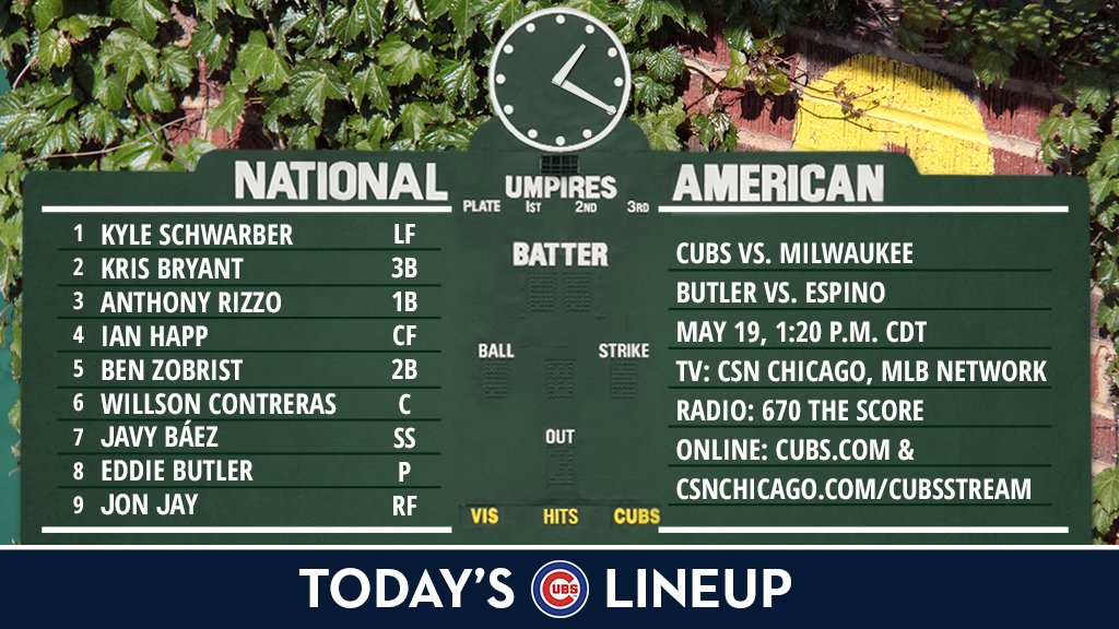 Here is today's #Cubs starting lineup against the #Brewers.  Game preview: https://t.co/xnMEaKfTDp https://t.co/ddJ79zJ8tS