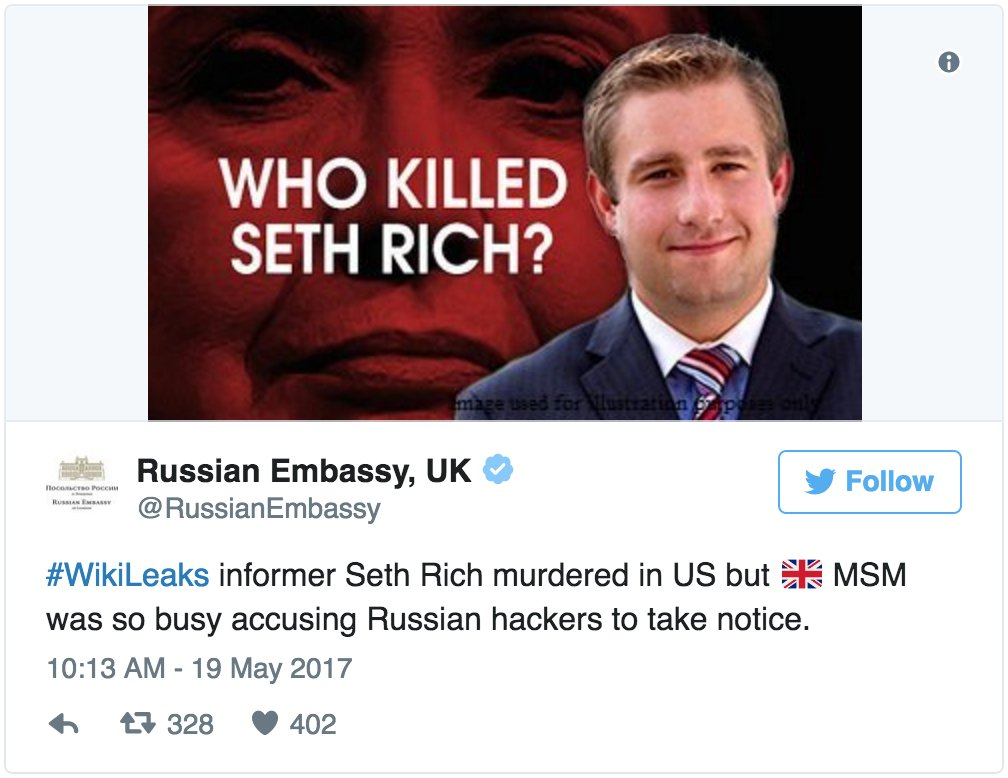 Russian embassy tweets debunked conspiracy theory about murdered DNC staffer https://t.co/MEjAej75qP https://t.co/O3wRRszeXY