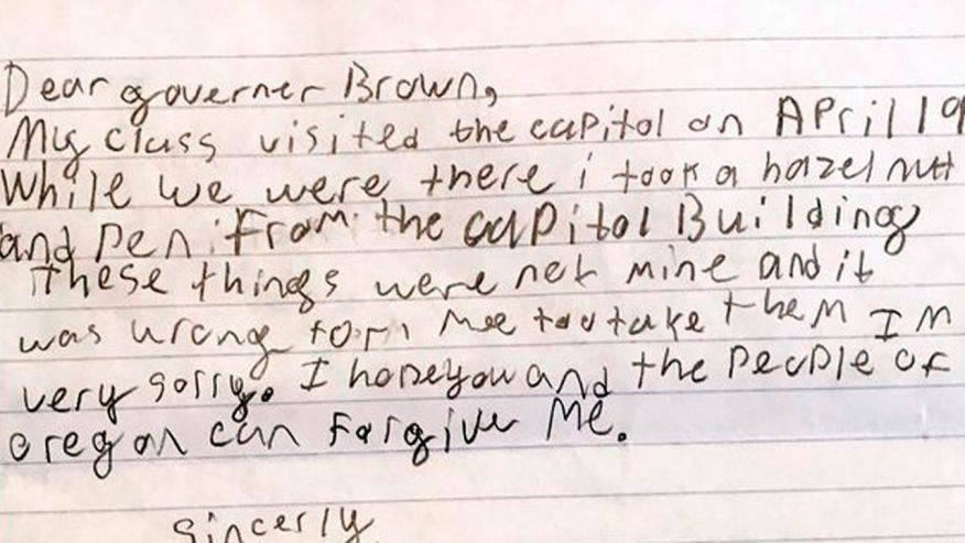 Oregon governor forgives boy for swiping hazelnut, pen