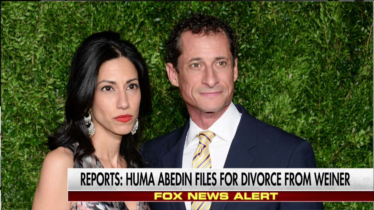 Reports @HumaAbedin files for divorce from Anthony Weiner.