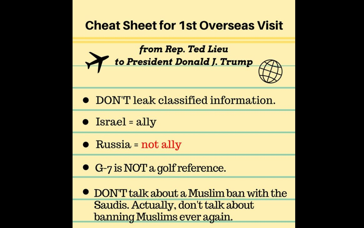 Dem lawmaker trolls Trump with 'cheat sheet' for his first foreign trip https://t.co/DeekNSg5Dx https://t.co/5GtmefqFWm