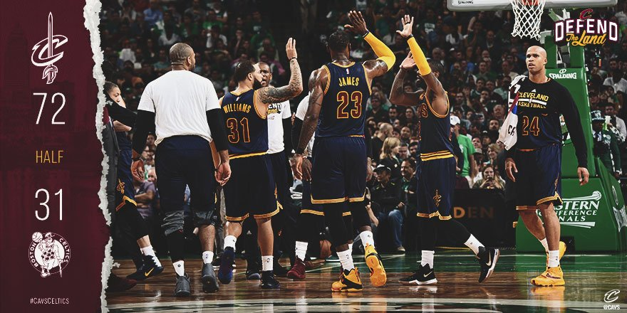 You could say the first half went pretty well. ��  #CavsCeltics BOX: https://t.co/zOXLAcqepQ   #DefendTheLand https://t.co/zFLXFYejMA