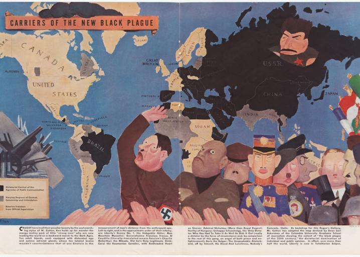Dark satirical maps from a Depression-era antifascist magazine: https://t.co/XF8wF5D30r https://t.co/0xSrA1KABp