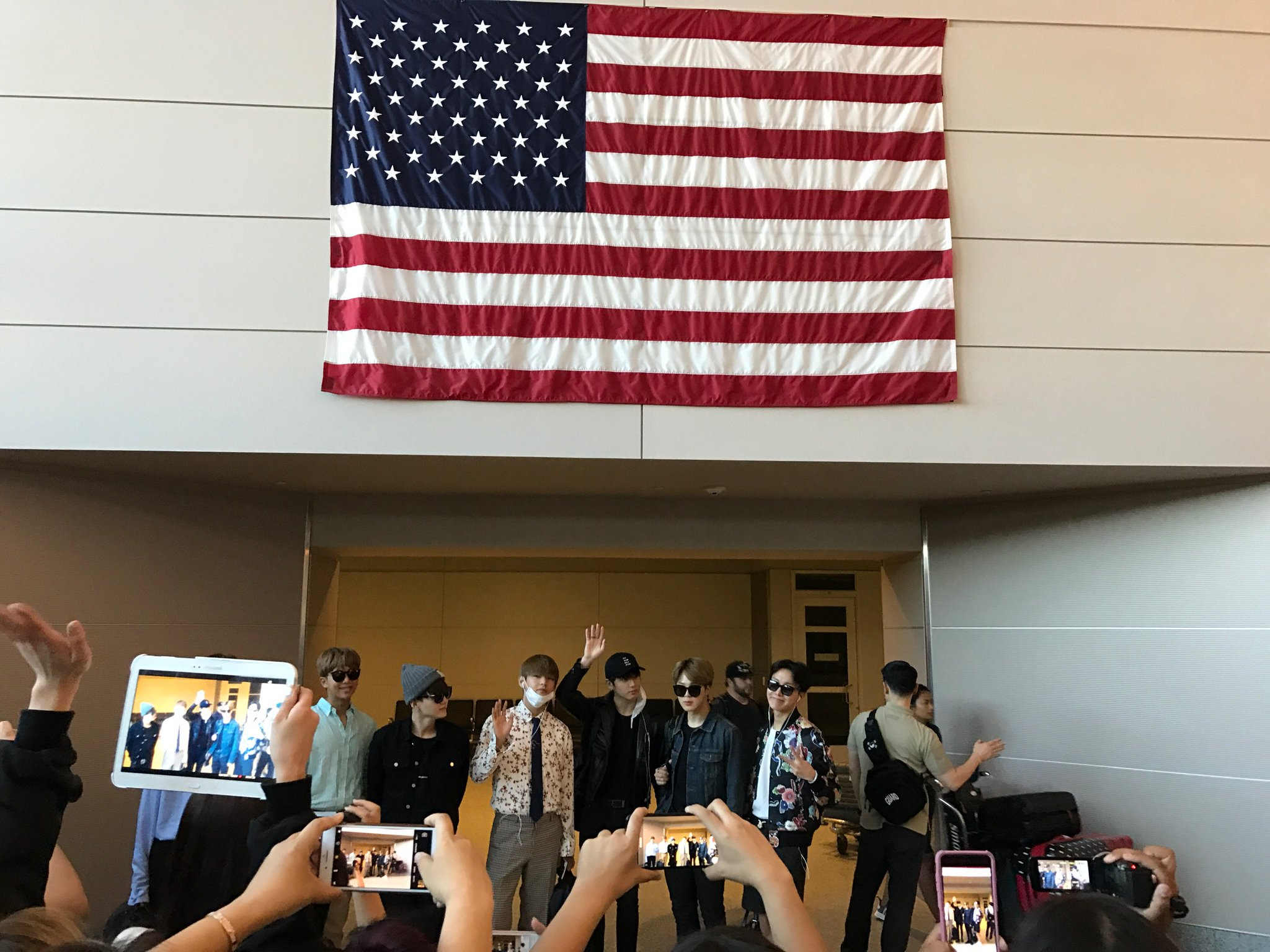 .@BTS_twt has landed in Las Vegas. ✈️ #BBMAs, here they come! https://t.co/7E1W6JO9iH