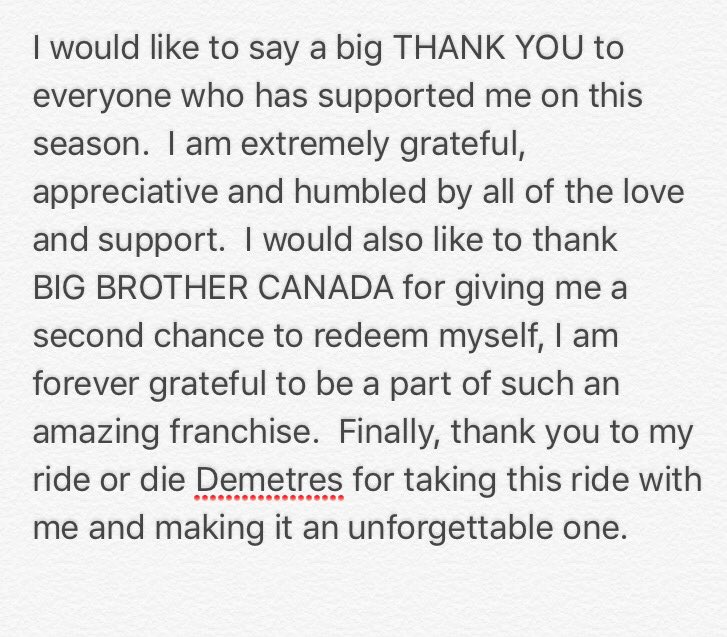 RT @theikawong: THANK YOU! ❤#BBCAN5 https://t.co/rKnpCG83aa