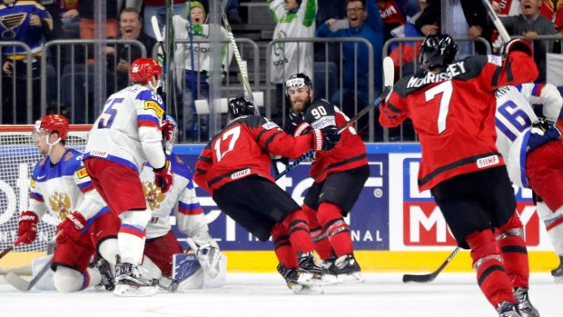 Canada to play for gold after 4-2 semifinal win over Russia at hockey worlds