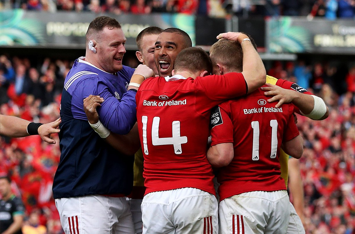 That feeling when you book your place in the @PRO12rugby Final 👊👊! #MunsterRising #MUNvOSP https://t.co/RdBrMgMQwK