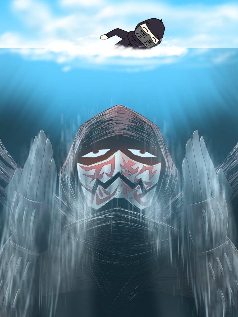 邪悪なニンジャに水中からアンブッシュするニンジャスレイヤー=サンです。変なエントリーしてるからフジキドと決めつけてるあな