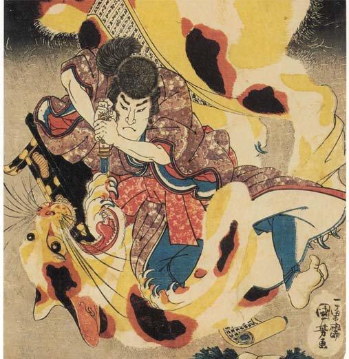 父親の赤岩一角になりすましていた怪猫を退治する、八犬士の一人、犬村大角。猫好きの国芳が描いているためか、化け猫なのに、北