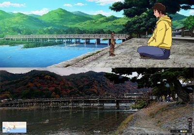 『タイガーマスクW』第31話。新必殺技に悩む東ナオトが、嵐柔剣流道場でもらった仏像を眺めていたシーンで渡月橋が描かれてい