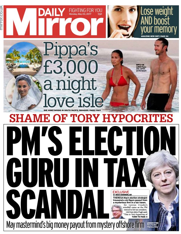 DAILY MIRROR FRONT PAGE PMs election guru in tax s