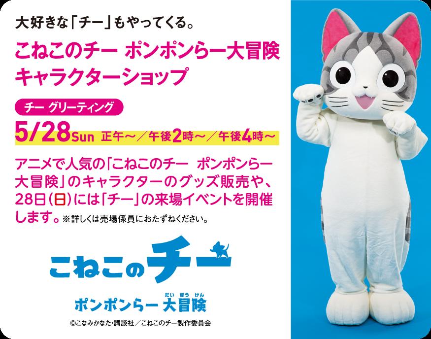 チーらよ!  5月28日(日)に #高島屋 二子玉川店 れ かいさいされう、#ねこ展 に チー あそびにいくよ! たのち