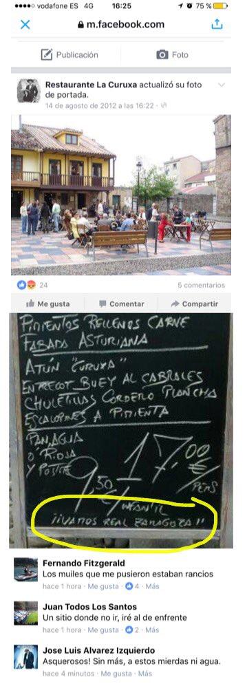 RT @Alfgh75: Restaurante La Curuxa de Avilés animando a los rivales del @RealOviedo, #Rivalidadsana https://t.co/OIbxml8hsQ