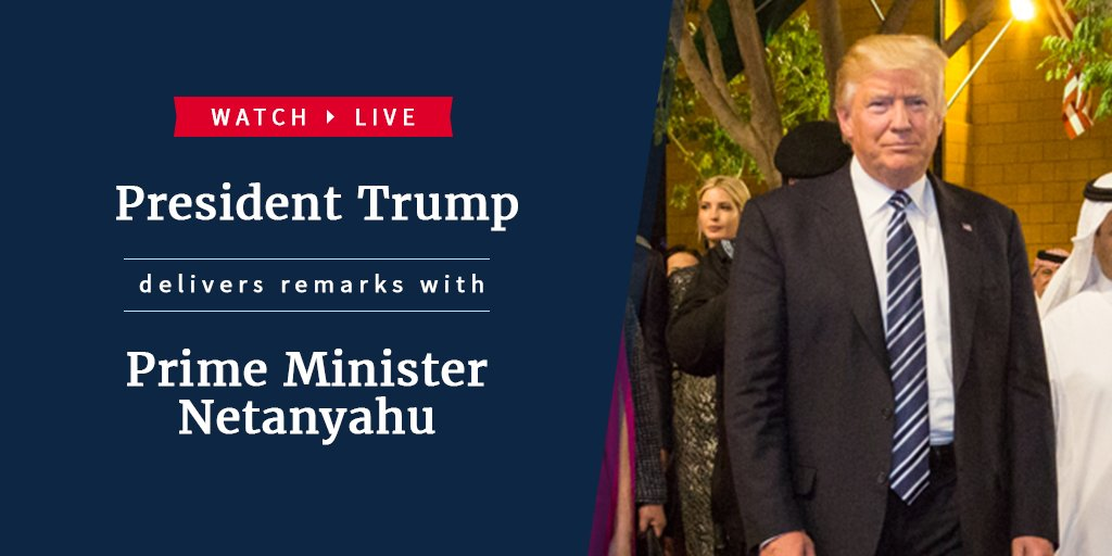 RT @WhiteHouse: Watch LIVE as @POTUS delivers remarks with Prime Minister Netanyahu: https://t.co/JRDy09ZJj2 https://t.co/4mWiEDyi3S