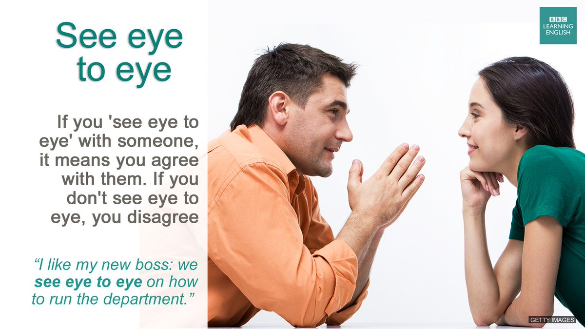 What does eye to eye mean? 54