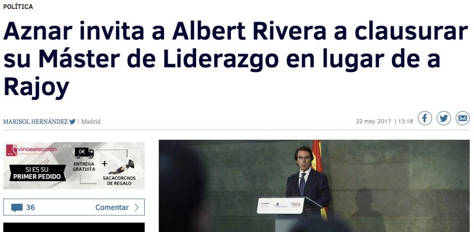 Todos dicen que Aznar hace un feo a Rajoy, pero, y si Aznar se ha tenido que conformar con el telonero ... https://t.co/cTmz6NMT20