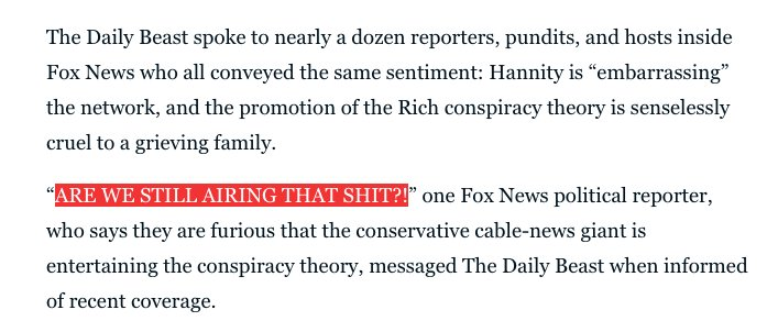 Fox News staffers say they're 'embarrassed' by @seanhannity's conspiracy-mongering.  https://t.co/7XND0R04zI https://t.co/bnYhbjlLgs