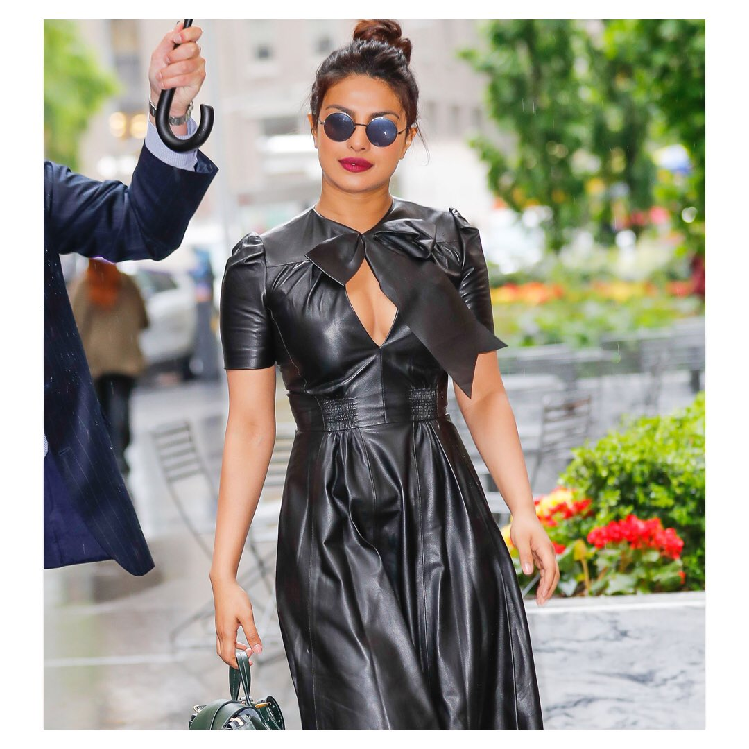 .@PriyankaChopra wearing a Ralph Lauren Collection Pre Fall 2017 leather dress today in New York City. https://t.co/FjCRaBv6cP