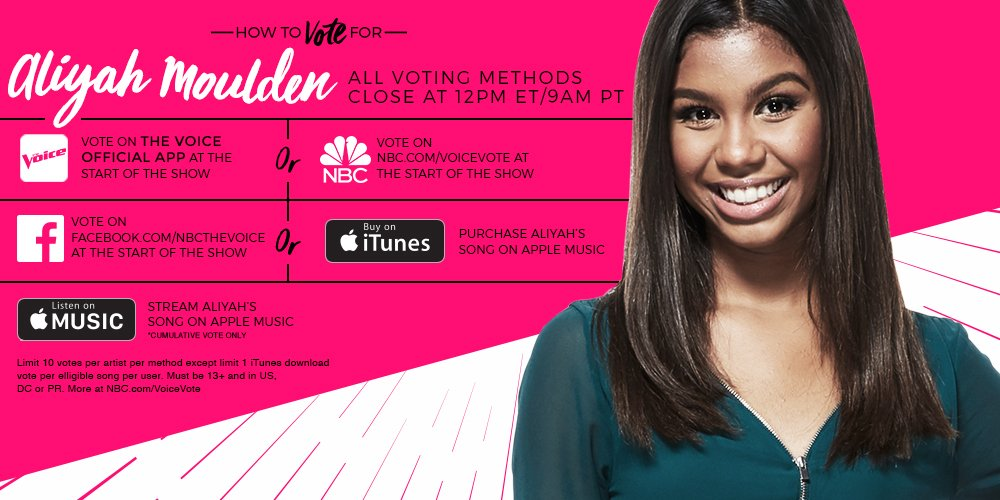 RT if you think @AliyahMoulden is #TheVoice and you're voting for her tonight. #VoiceFinale https://t.co/UUixdgOeuf