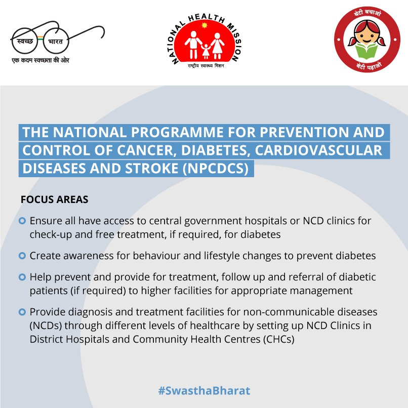 test Twitter Media - NPCDCS has been implemented for prevention and control of #diabetes and other NCDs. #SwasthaBharat https://t.co/3hdMJEskPz