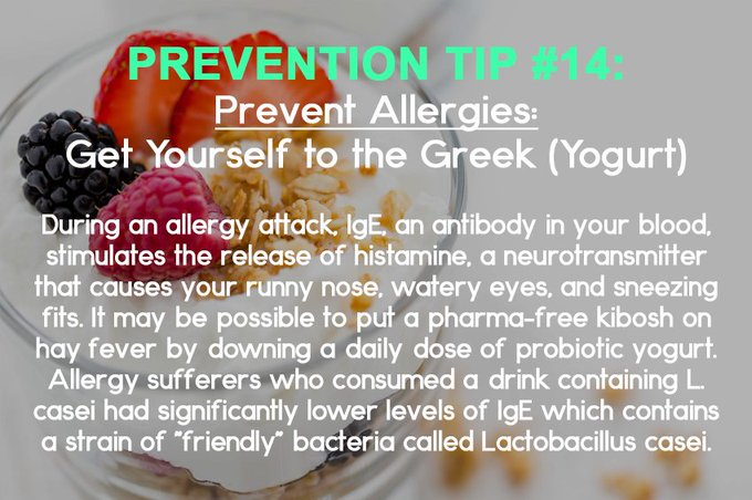 Prevention Tip Of the Week #14: Get Yourself to the Greek #allergy #yogurt #prevention https://t.co/flpKb2dkg0