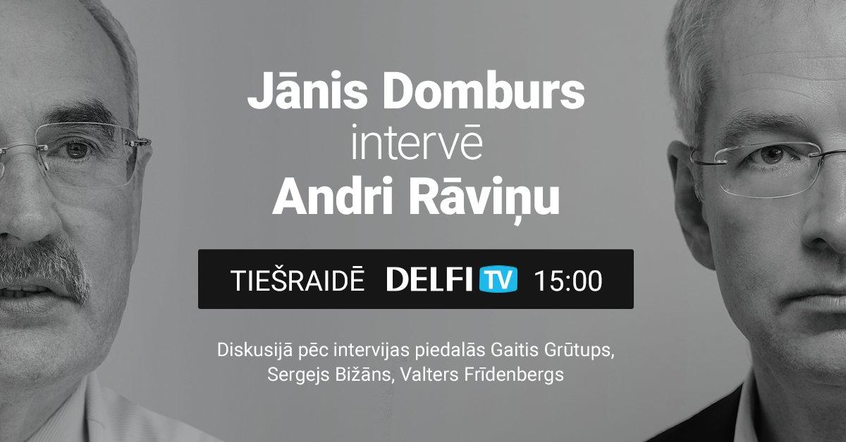 'Delfi TV ar Jāni Domburu': intervija ar Andri Rāviņu. Video tiešraide pulksten 15
