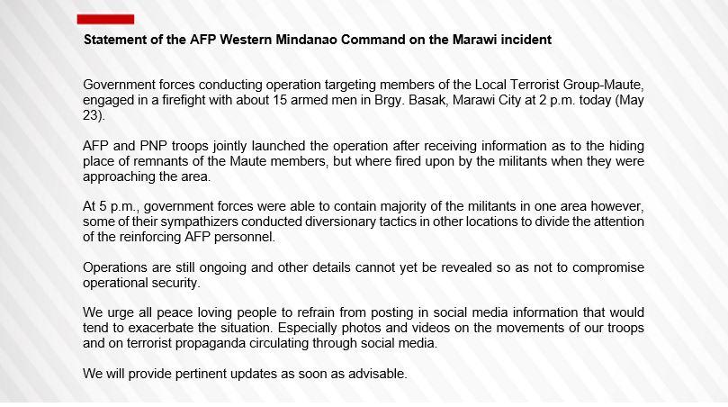 RT @cnnphilippines: READ: Statement of the AFP Western Mindanao Command on the Marawi incident #PrayForMarawi https://t.co/Hwc7UHA7LU