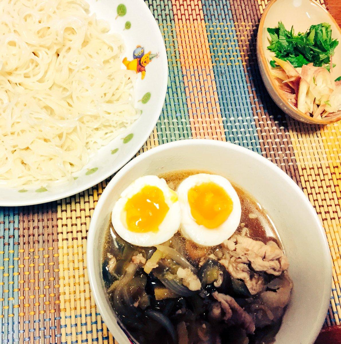 今日の夜はマンガ飯。3月のライオンでおねいちゃんが作ったナスと豚肉のつけ汁のそうめんのやーつ。生姜が効いてうまかったー♪