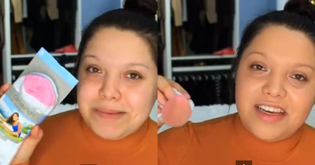 Yep. This woman really *is* using socks to apply her foundation...